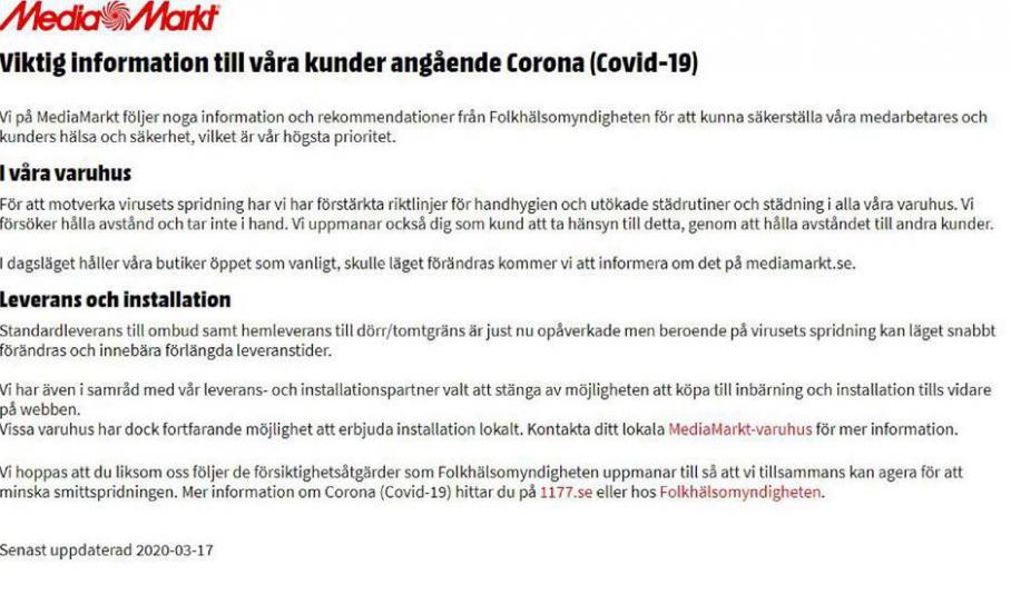 Media Markt Erbjudande Viktig information till våra kunder angående Corona . Media Markt (2020-04-30-2020-04-30)