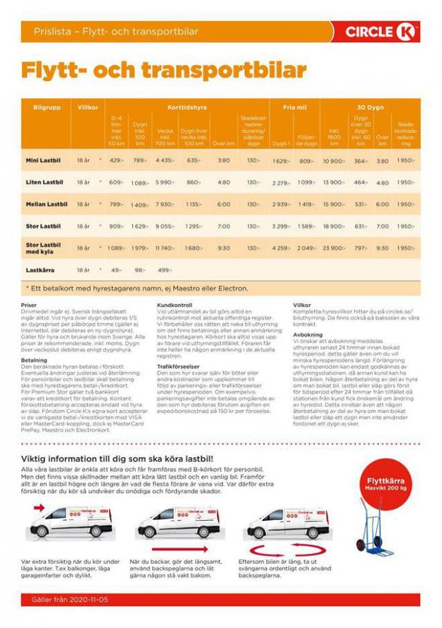 Prislista – Flytt- och transportbilar . Circle K (2021-03-31-2021-03-31)